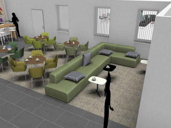 Aufenthaltsräume mit Bereich Lounge Bistro 3D4